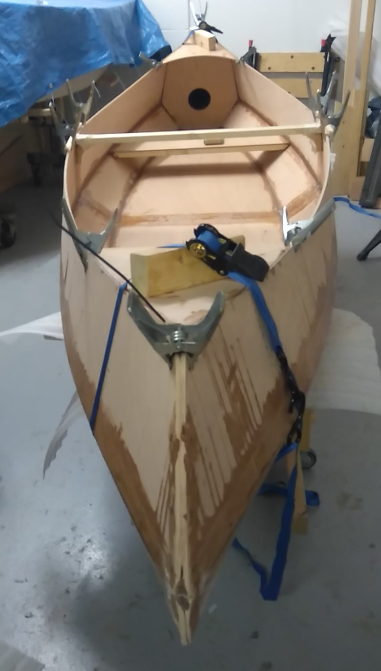 28 The decks are fitted although this shows a canoe which will have the sheer trim fitted short of t