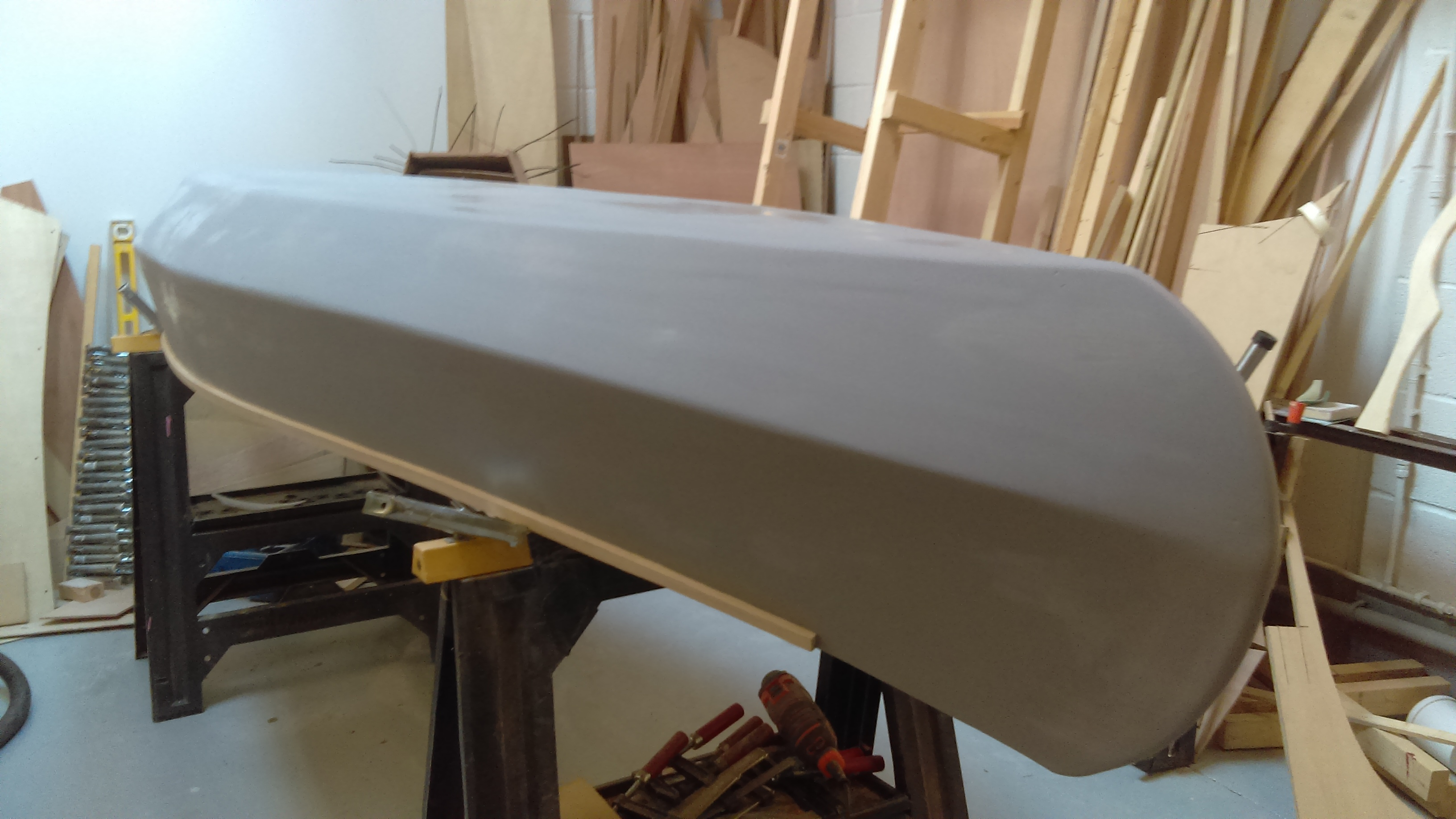 25 Aftre the whole hull has been sanded smooth, taking care not to damage taped areas, it is underco