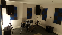 rehearsal room with behringer pa