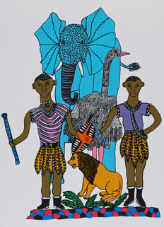 Men with Lion and Elephant