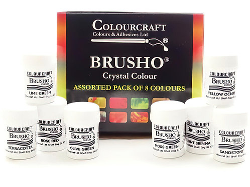 Brusho Crystal Colour Set of 8 x 15g Tubs