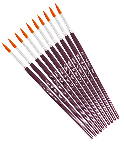 Orange Synthetic Sable Brushes - Round Pack of 10