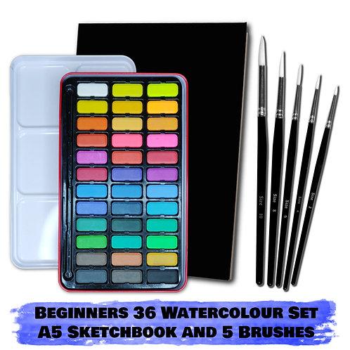 Essential Arts Beginners 36 Watercolour Art Kit - A5 Sketchbook