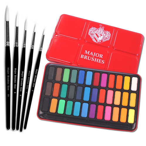 Major Brushes Watercolour Red Tin of 36 Plus Set of 5 Brushes
