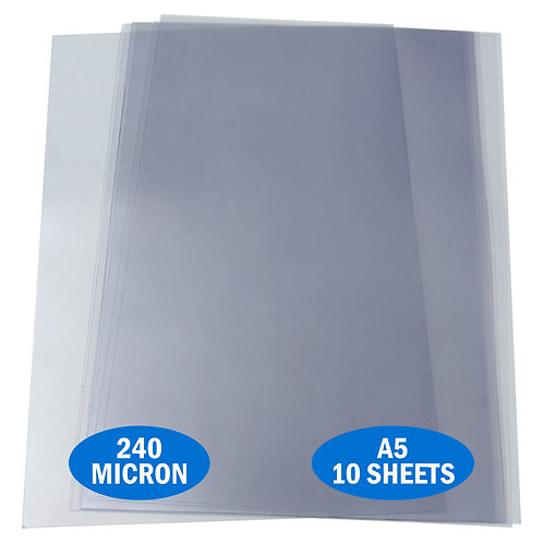 A5 PVC Acetate 240micron Pack of 10 Sheets