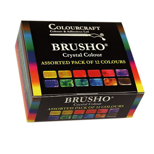 Brusho Crystal Colour Set of 12 x 15g Tubs