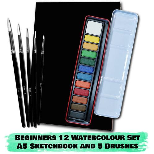 Essential Arts Beginners 12 Watercolour Art Kit - A5 Sketchbook
