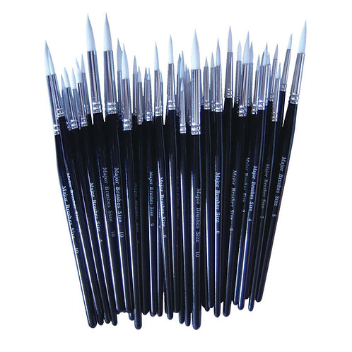 White Synthetic Sable Brushes Pack of 50