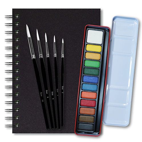 Essential Arts Artists 12 Watercolour Art Kit - A5 Artgecko Classy Sketchbook