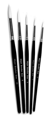 White Synthetic Sable Brush Round Set of 5