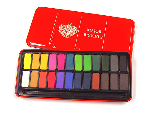 Major Brushes Watercolour Red Tin of 24