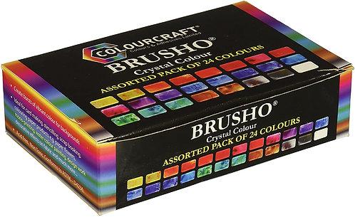 Brusho Crystal Colour Set of 24 x 15g Tubs