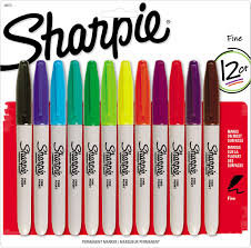 Assorted Coloured Sharpies Pack of 12