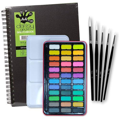 Essential Arts Artists 36 Watercolour Art Kit - A4 Artgecko Classy Sketchbook