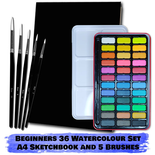 Essential Arts Beginners 36 Watercolour Art Kit - A4 Sketchbook