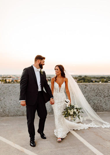 Kansas Bride and Groom at Sunset