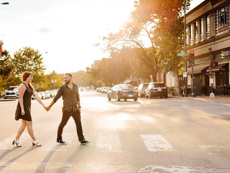 Country Club Plaza and Westport Kansas City Engagement Photos with Kyle and Katy