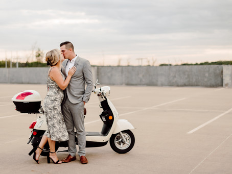 Scooters, Dogs, Rooftops, and Champagne Pops; Classy Summer Engagement Photos with Mika and Drew