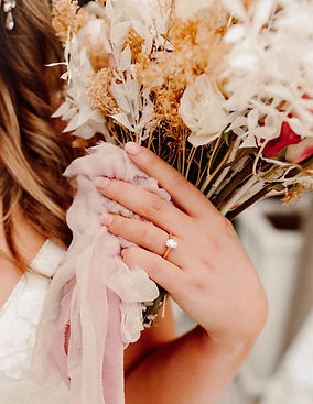 Bride with Wedding Ring and Bouquet