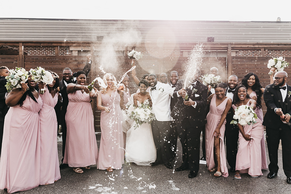 Champagne Pop with Bridal Party