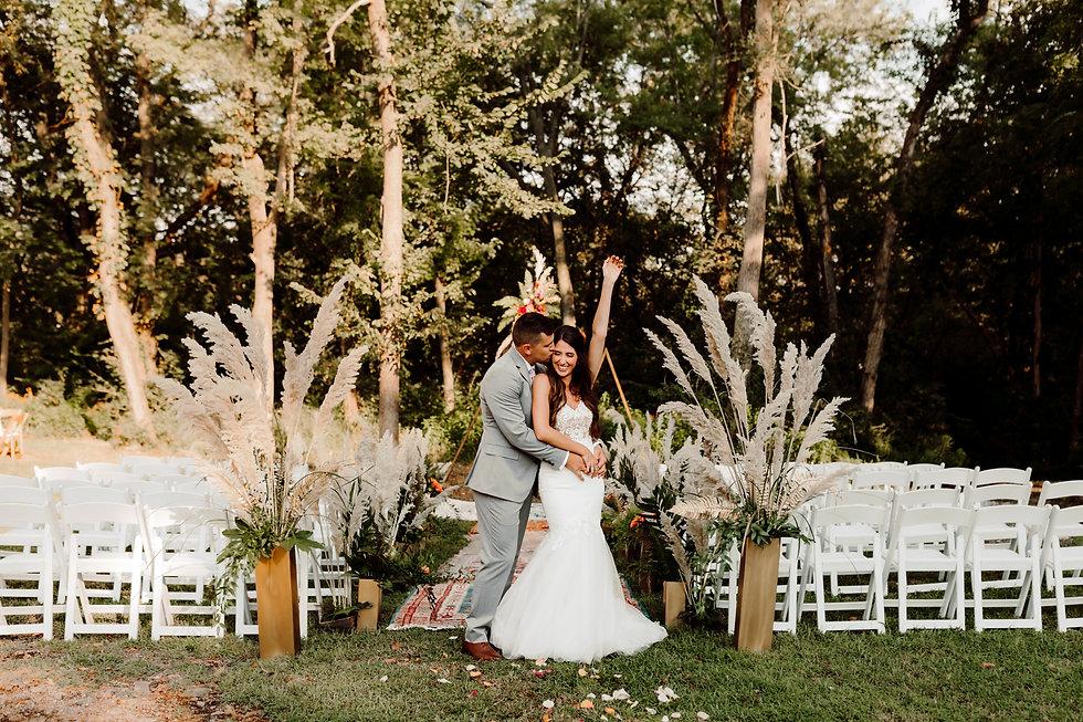 Happy Bride and Groom Celebrating
