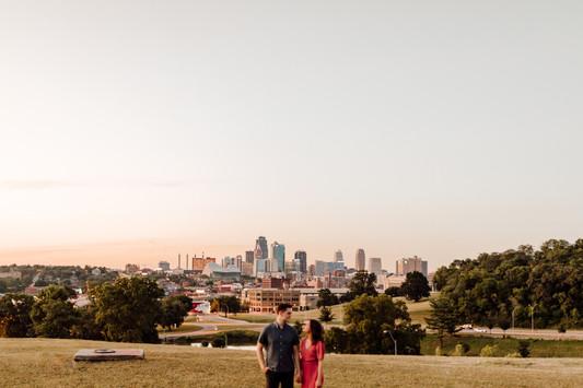 Kansas City Skyline Engagement Photos