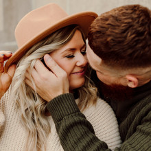 Cute Couple Engagement Photos, Girl with Hat