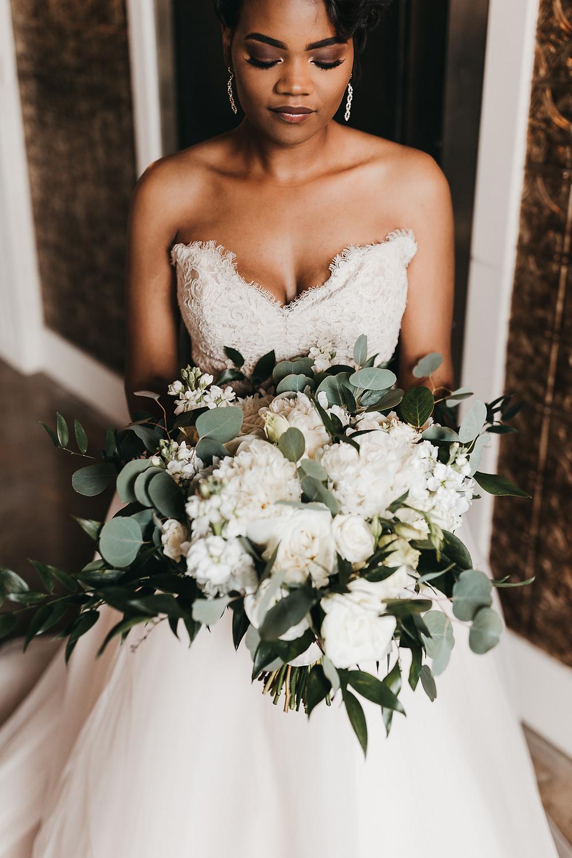 Kansas City Bride with White Floral Bouquet