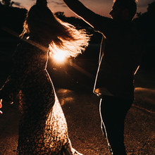 Engagement Photography at Night, Couple Dancing