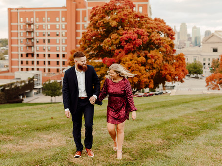 Russell and Bailey Fall Engagement Photos at the World War 1 Museum in Kansas City