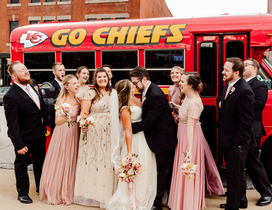 Kansas City Bridal Party with Chiefs Bus