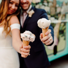Fun Bride and Groom with Icecream Truck