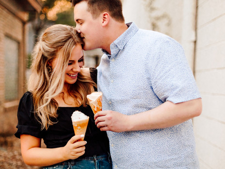 She's Been Scooped Up! Summer Engagement Photos at Betty Raes Ice Cream Shop and Loose Park
