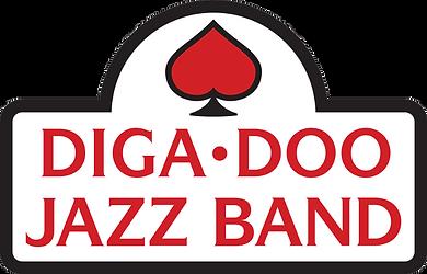 Logo van de Diga-Doo Jazz Band. Rood hart ondersteboven in schoppen.