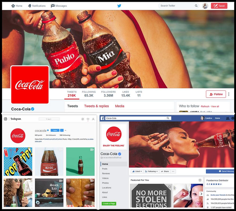 Coca Cola's social profiles