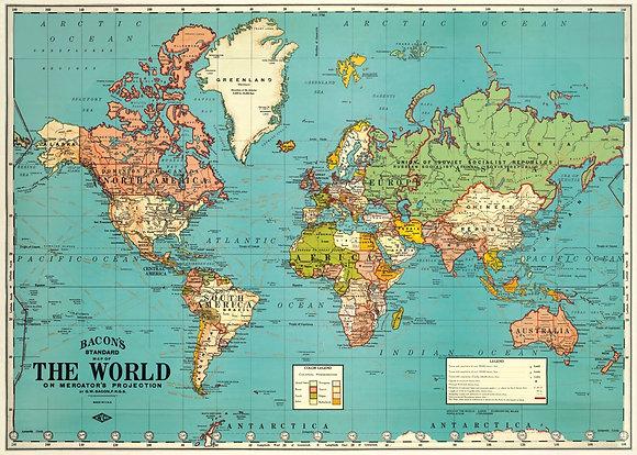 פוסטר מפת עולם גרסה 2#