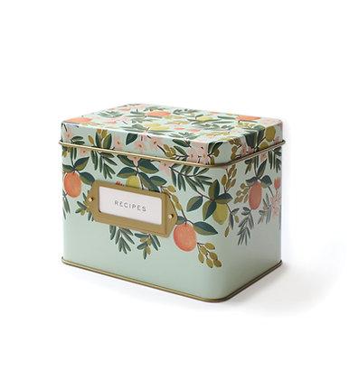 קופסת מתכונים תכלת בעיטור פירות