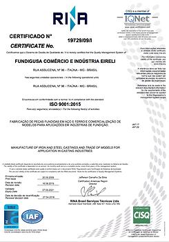 Rina Certificação ISO 9001:2015 FUNDIGUSA