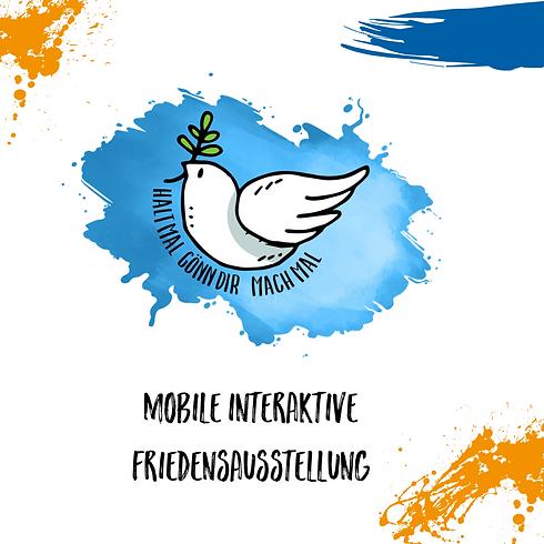 Logo der Friedensausstellung mit Kleckse