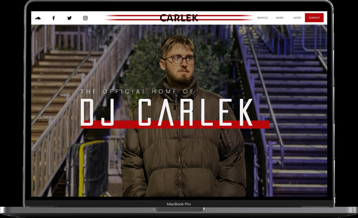 Laptop DJ Carlek Website Design By Tom G