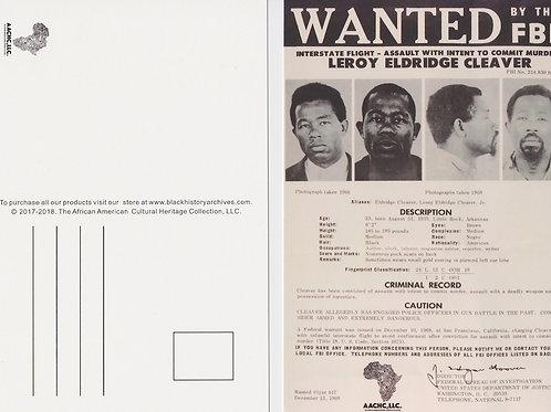 Eldridge Cleaver FBI Wanted Poster Exclusive Black History Postcard