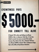 Extremely RARE Eyewitness Magazine Article with reward for Emmett Till alive