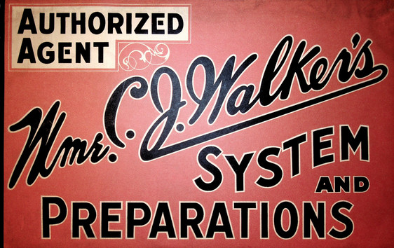 Rare Original Mme. C.J. Walker's System and Preparation Authorized Agent Tin Sign