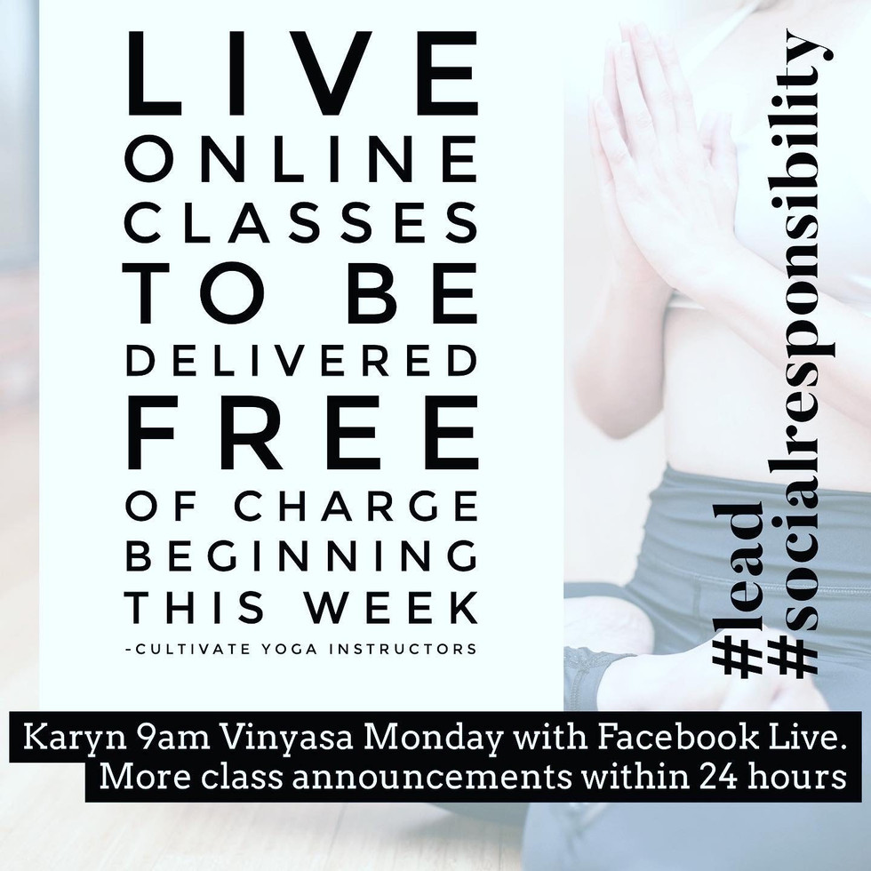 Lemon Water & FREE Online FB LIVE Classes with Cultivate Yoga