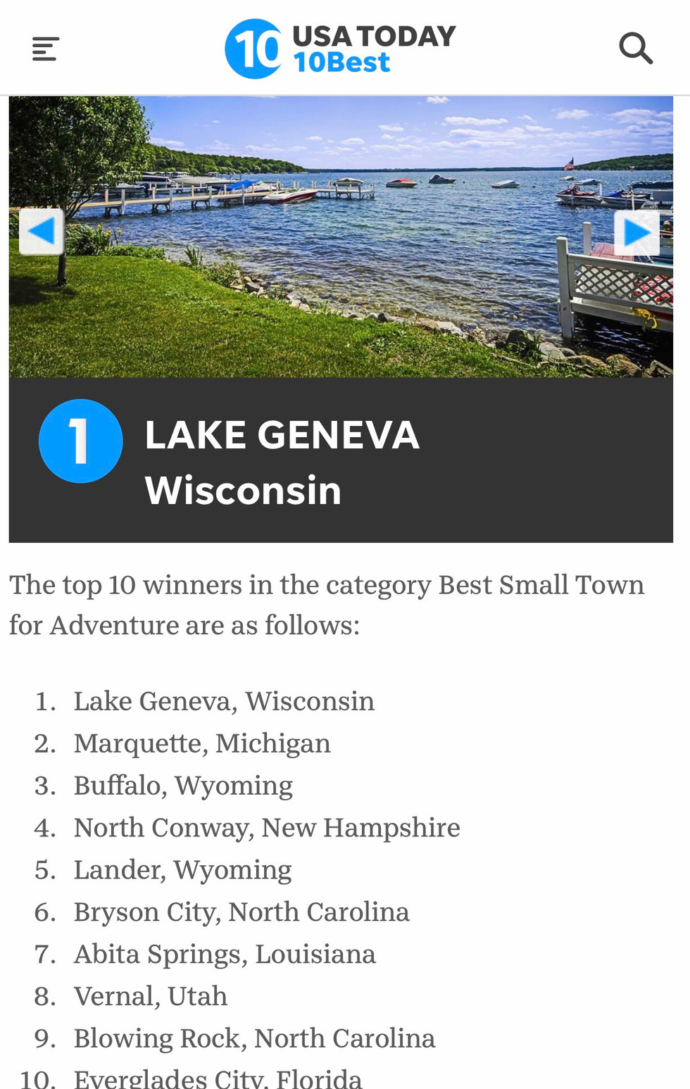 USA Today Votes Lake Geneva the BEST Small Town for Adventure