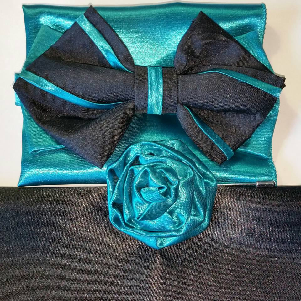 TEAL..BLACK SATIN 2