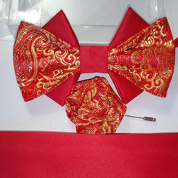 RED MATTE SATIN WITH RED GOLD BROCADE SATIN 1