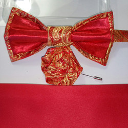 RED GLOSS SATIN WITH RED GOLD BROCADE SATIN