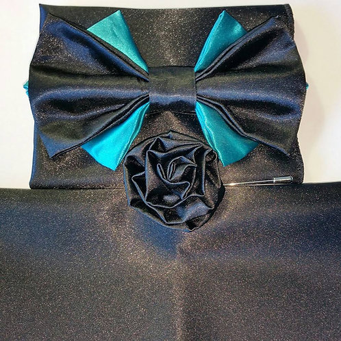 ROYAL 4488  BLACK/TEAL SATIN