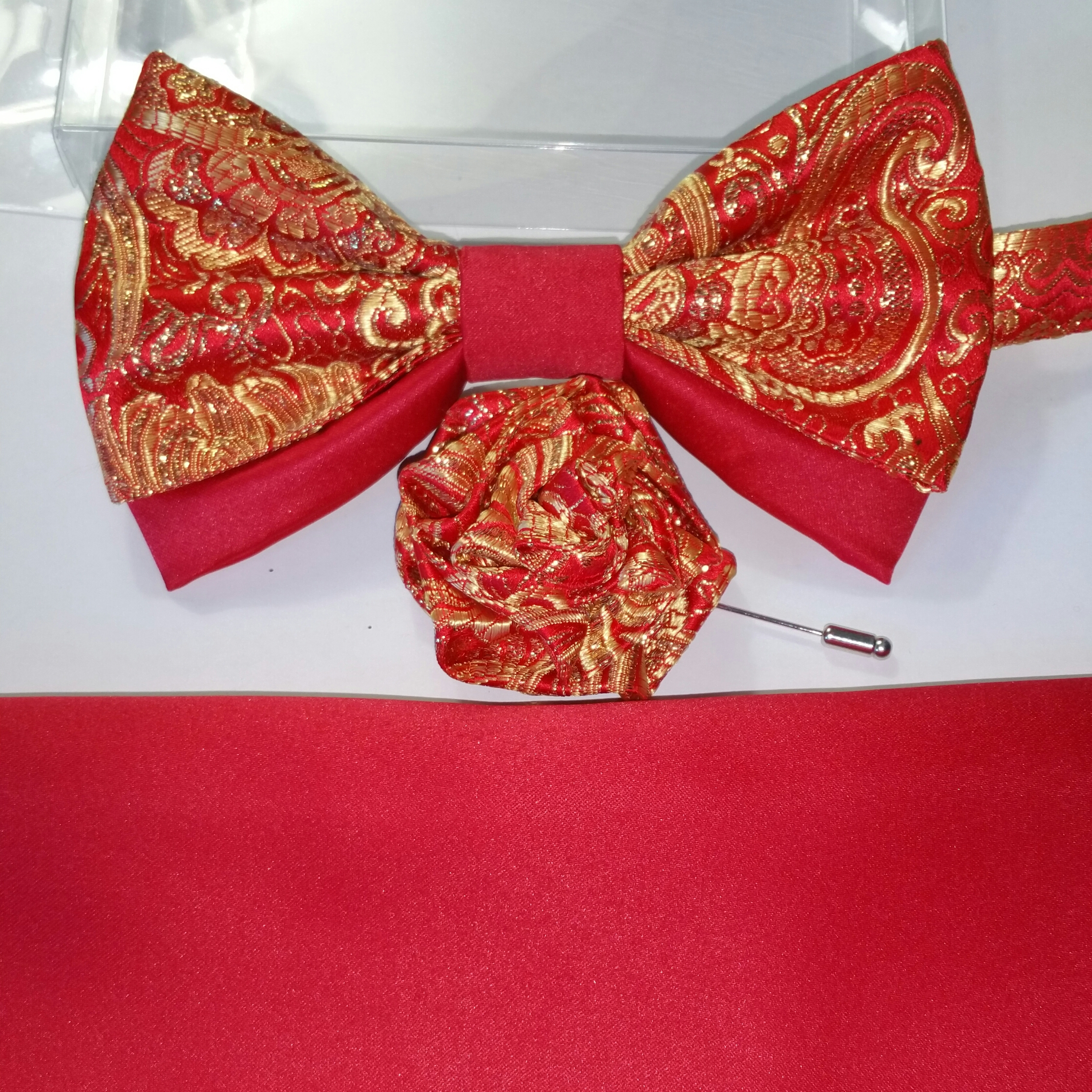 RED MATTE SATIN WITH RED GOLD BROCADE SATIN 2